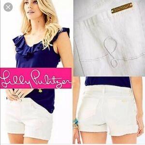 Nwt- Lilly Pulitzer izabela white denim shorts 12
